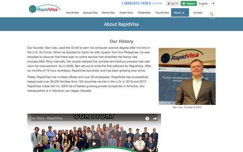 Screenshot of About Page rapidvisa.com - About RapidVisa® - captured Aug. 5, 2018