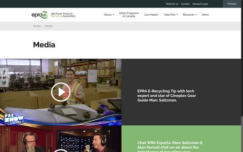 Screenshot of Press Page epra.ca - Media – EPRA | ARPE | Electronic Products Recycling Association | Association pour le recyclage des produits électroniques - captured Dec. 26, 2016