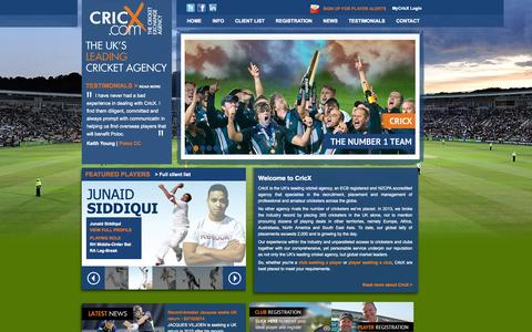 Screenshot of Home Page cricx.com - CricX - The Cricket Exchange Agency - captured Oct. 3, 2014