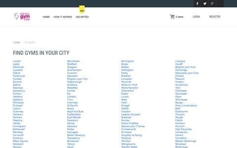 Screenshot of Site Map Page payasugym.com - Find Gyms in Your City | PayasUgym.com - captured Nov. 23, 2015