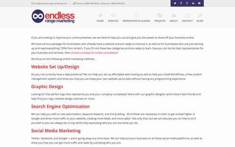 Screenshot of Services Page endlessrangemarketing.com - Internet Marketing Services - captured Sept. 19, 2014