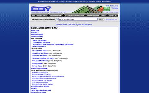 Screenshot of Site Map Page ebyelectro.com - Search Terminal Block Centerline Spacing, Wire Range, Types, Barrier Blocks, Eurostyle Terminal Blocks and more - captured Sept. 27, 2014