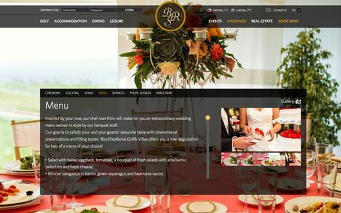 Screenshot of Menu Page blacksearama.com - Wedding Menu at BlackSeaRama Golf & Villas, Bulgaria - captured Feb. 7, 2016