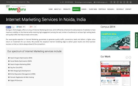 Screenshot of Services Page brainguru.in - Internet Marketing | Internet Marketing Services In Noida, India - captured Sept. 25, 2014