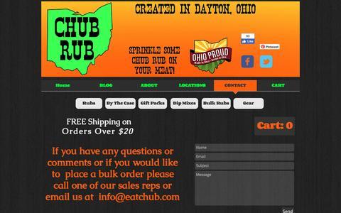 Screenshot of Contact Page eatchub.com - Chub Rub Dry Rubs, Spices, and All Purpose Seasonings   CONTACT - captured Nov. 5, 2016