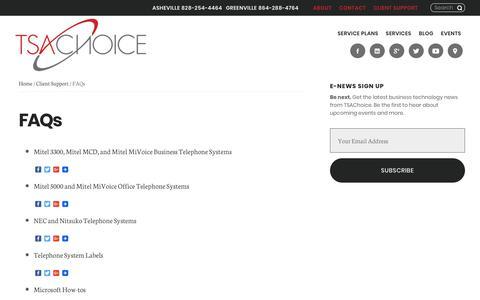 Screenshot of FAQ Page tsachoice.com - FAQs | TSAChoice - captured Oct. 26, 2017