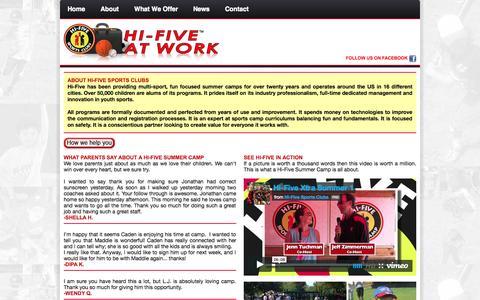 Screenshot of About Page hifiveatwork.com - Hi-Five At Work - captured Sept. 30, 2014