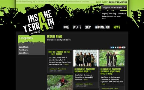 Screenshot of Press Page insaneterrainrunning.com - Insane Terrain Running News - Up to date information on our off road obstacle course mud run events - captured Oct. 6, 2014