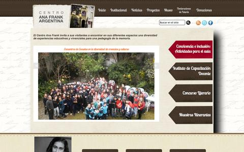 Screenshot of Home Page centroanafrank.com.ar - Centro Ana Frank Argentina - captured Oct. 2, 2014