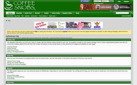 Screenshot of FAQ Page coffeesnobs.com.au - CoffeeSnobs FAQ - captured Oct. 30, 2014