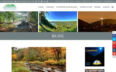 Screenshot of Blog visitpago.com - Visit PA GO Blog   Visiting the PA Great Outdoors - captured Sept. 27, 2018