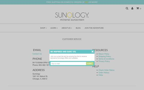 Screenshot of Support Page sunology.com - Customer Service - Contact Sunology – Sunology Mineral Sunscreen - captured Oct. 18, 2017
