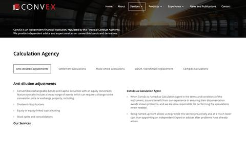 Screenshot of Services Page conv-ex.com - Calculation Agency - ConvEx Advisors - captured Nov. 10, 2018