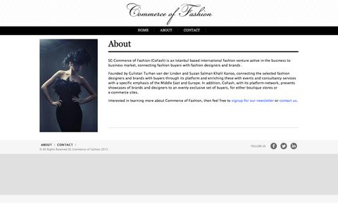 Screenshot of About Page commerceoffashion.com - Commerce of Fashion - captured Oct. 27, 2014