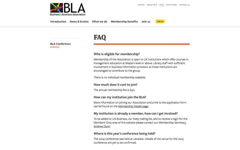 Screenshot of FAQ Page blalib.org - FAQ · Business Librarians Association - captured Oct. 5, 2014