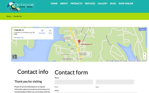 Screenshot of Contact Page outdoorrooms.net - Contact Us  |  Outdoor Rooms By Design - captured Feb. 22, 2016