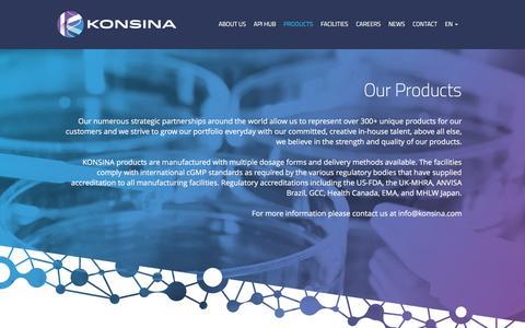 Screenshot of Products Page konsina.com - Products | Konsina.com - captured Jan. 9, 2016