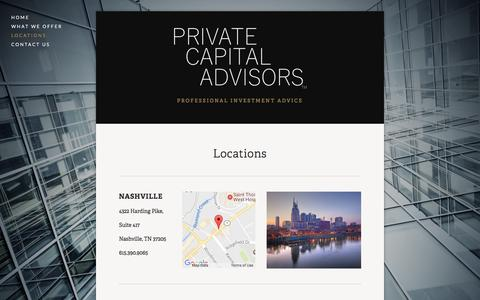 Screenshot of Locations Page privatecapitaladvisors.com - Locations — Private Capital Advisors - captured May 21, 2017