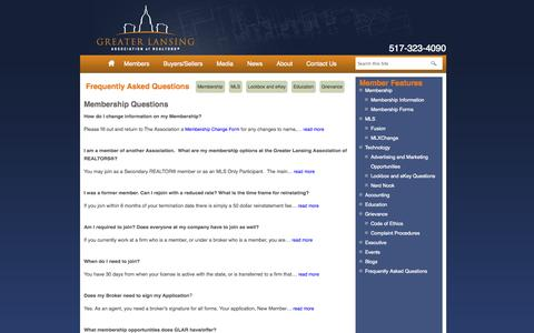 Screenshot of FAQ Page glaronline.com - Greater Lansing Association of Realtors® (GLAR) - captured Oct. 3, 2014