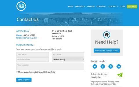 Screenshot of Contact Page agrimap.com - Contact Agrimap   New Zealand Farm Management Software - captured Dec. 28, 2015