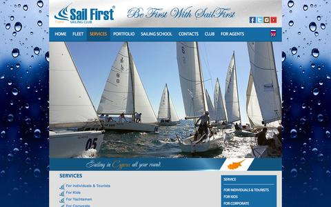 Screenshot of Services Page sailfirst.com - Sail First – cyprus sailing, yacht charter RYA training centre » SERVICES - captured Oct. 29, 2014