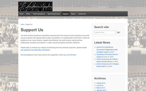 Screenshot of Support Page aasymphony.org - Support Us | Asia America Symphony Association - captured Oct. 4, 2014