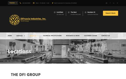 Screenshot of Locations Page difruscia.com - Locations - DiFruscia Industries - captured Oct. 9, 2018