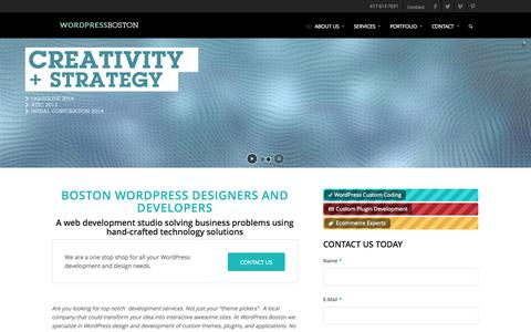 Screenshot of Home Page wordpress-boston.com - Boston Wordpress Designers and Developers. Custom Themes. - captured Sept. 30, 2014