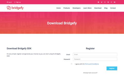 Screenshot of Signup Page bridgefy.me - Bridgefy: The SDK that makes apps work offline - captured June 3, 2017