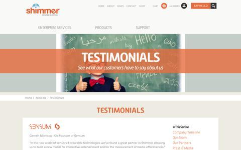 Screenshot of Testimonials Page shimmersensing.com - Testimonials - captured Nov. 4, 2014