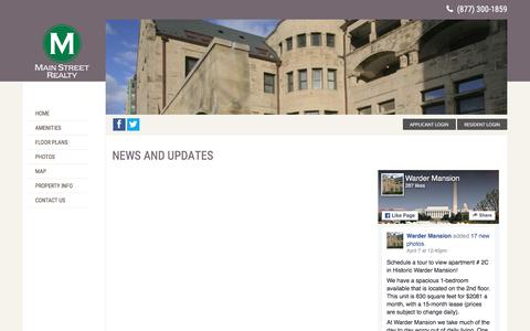 Screenshot of Press Page wardermansion.com - News and Updates | Warder Mansion | Apartments in Washington, DC - captured April 16, 2017