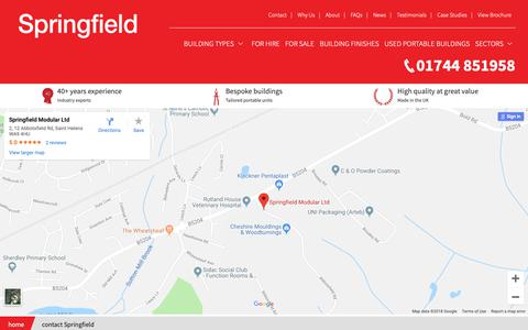 Screenshot of Contact Page spring-field.co.uk - Contact Us | Springfield Modular - captured Oct. 19, 2018