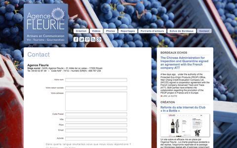 Screenshot of Contact Page agence-fleurie.com - Contact | Agence Fleurie - captured Sept. 30, 2014