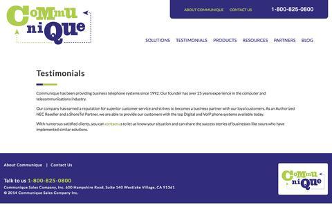 Screenshot of Testimonials Page communiquesales.com - Communique - captured Oct. 27, 2014