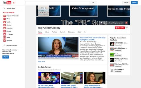 Screenshot of YouTube Page youtube.com - The Publicity Agency  - YouTube - captured Oct. 26, 2014