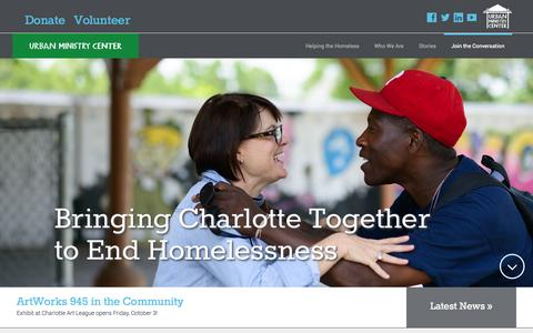 Screenshot of Home Page urbanministrycenter.org - Helping Homeless in Charlotte   Volunteer   Donate   Urban Ministry Center - captured Sept. 30, 2014