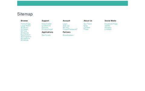 Screenshot of Site Map Page tunein.com - TuneIn Radio - captured July 21, 2014