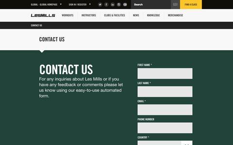 Screenshot of Contact Page lesmills.com - Contact Us - captured Sept. 22, 2014