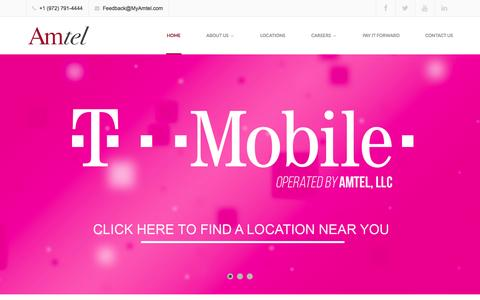 Screenshot of Home Page myamtel.com - Amtel | T-Mobile Stores | Cell Phone Stores - captured Oct. 4, 2014