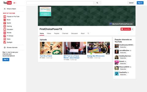 Screenshot of YouTube Page youtube.com - FirstChoicePowerTX  - YouTube - captured Oct. 25, 2014