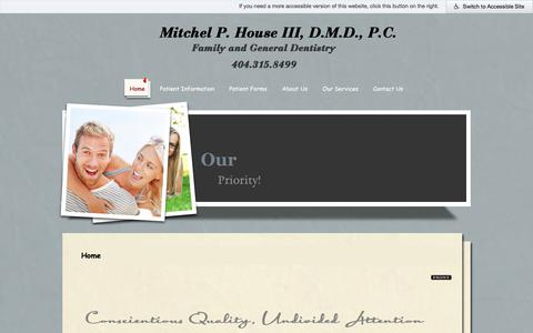 Screenshot of Home Page housedmd.com - Decatur Dentist | Dentist in Decatur |  Dr. Mitchel P. House, III | Mitchel P. House III, D.M.D. P.C. | GA - captured July 4, 2018
