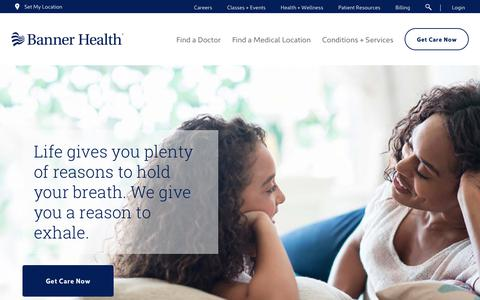 Screenshot of Home Page bannerhealth.com - Banner Health | Health Care Made Easier in AZ, CO, WY, NE, NV, CA - captured April 17, 2018