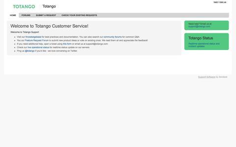 Screenshot of Support Page zendesk.com - Totango - captured Sept. 12, 2014