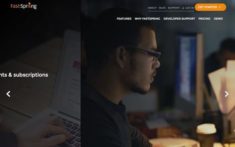 Screenshot of Home Page fastspring.com - FastSpring - Global E-Commerce Platform for Software and SaaS - captured Jan. 27, 2015