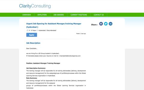 Screenshot of clarityconsulting.in - Job - Urgent Job Opening for Assistant Manager/training Manager (hyderabad ) - Hyderabad / Secunderabad - CLARITY CONSULTING - 4 - 8 Years of experience - captured March 19, 2016