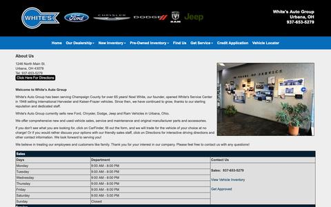 Screenshot of About Page Hours Page whitesautogroup.com - About Us > White's Auto Group   New Ford Chrysler Dodge Jeep Ram   Pre-Owned Vehicles   Urbana Oh   Ohio   Champaign County - captured Nov. 7, 2018