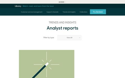 Screenshot of Support Page zendesk.com - Analyst reports | Zendesk Library - captured Aug. 5, 2018