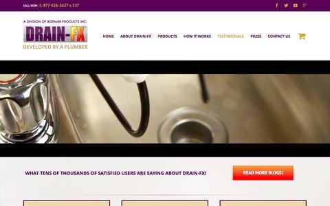 Screenshot of Testimonials Page drain-fx.com - DRAIN-FX   –  Testimonials (DFX) - captured Oct. 29, 2014