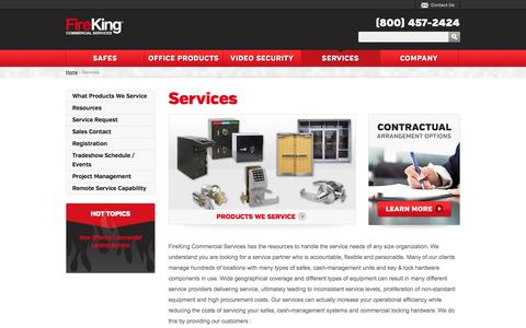 Screenshot of Services Page fireking.com - FireKing Commercial Safe Services - captured Oct. 5, 2014