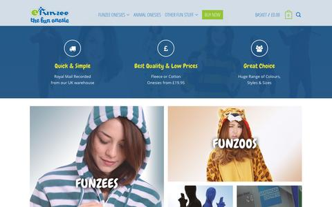 Screenshot of Home Page funzee.co.uk - Onesies For Adults from Funzee UK - Funzee - captured Feb. 10, 2016
